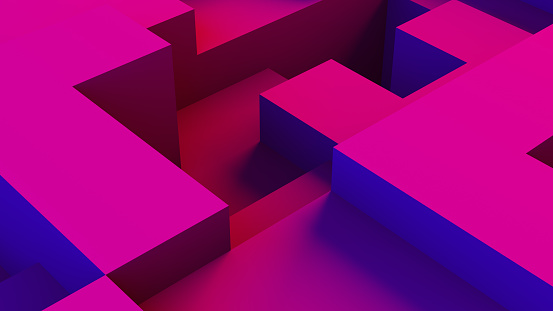 istock Abstract 3D Geometric Shapes Cube Blocks Background with Neon Lights 1172023060