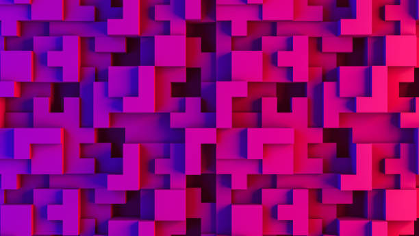 Abstract 3D Geometric Shapes Cube Blocks Background with Neon Lights - foto stock