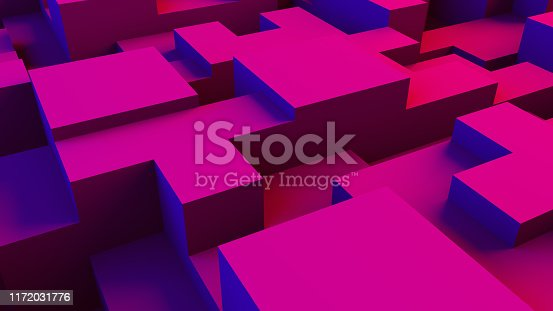 istock Abstract 3D Geometric Shapes Cube Blocks Background with Neon Lights 1172031776