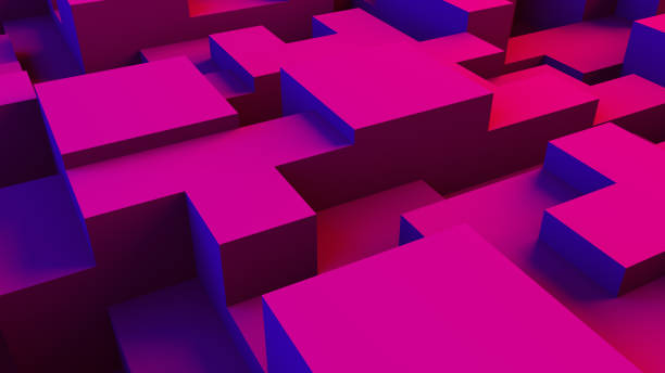 Abstract 3D Geometric Shapes Cube Blocks Background with Neon Lights stock photo
