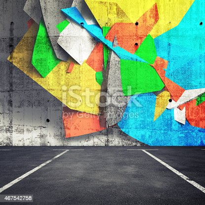 Abstract 3d graffiti fragment on the wall of concrete parking interior. Photo collage with 3d illustration elements