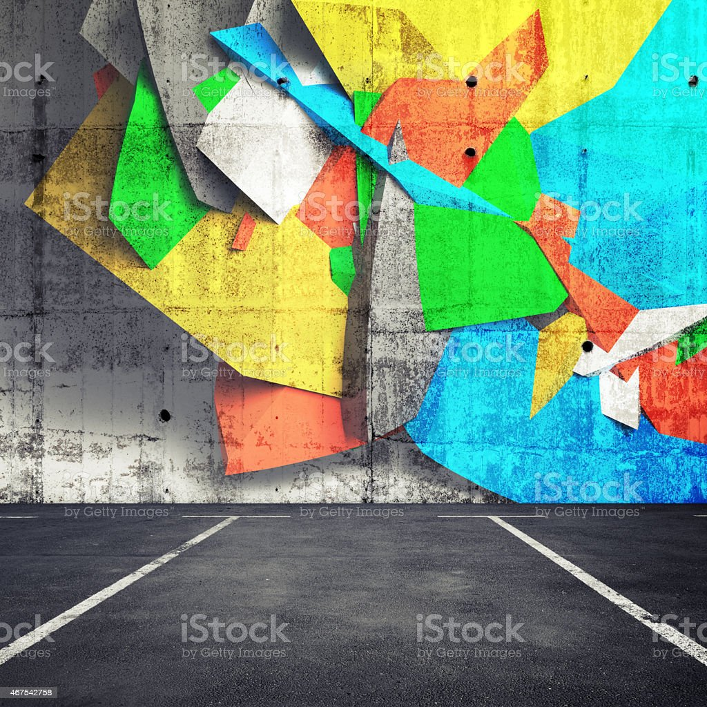 Abstract 3d graffiti fragment on wall of parking interior stock photo