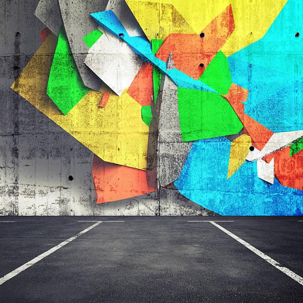 抽象的な 3 d のグラフィティ金属片の壁の屋内駐車場 - street graffiti ストックフォトと画像