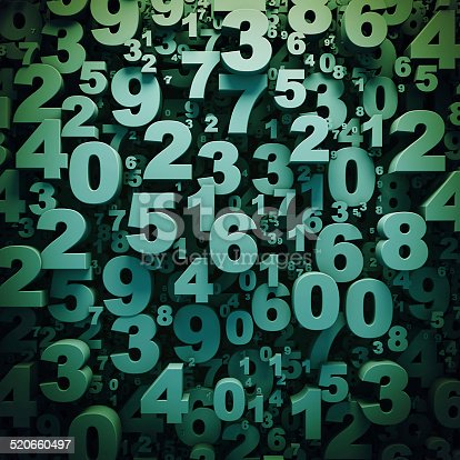 istock Abstract 3D green digits background 520660497