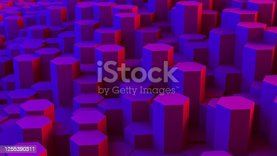 1003112132 istock photo Abstract 3D Hexagon Blocks Background with Neon Lights 1255390311