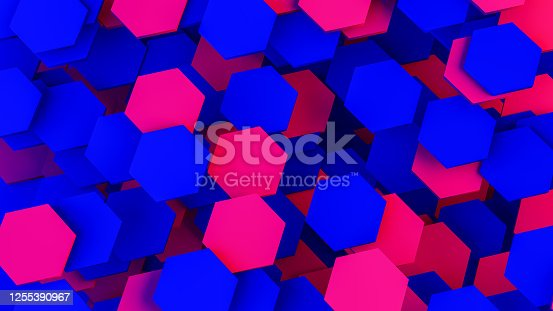 1003112132 istock photo Abstract 3D Hexagon Blocks Background with Neon Lights 1255390967