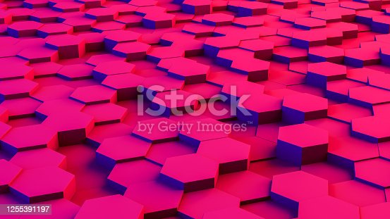 1003112132 istock photo Abstract 3D Hexagon Blocks Background with Neon Lights 1255391197