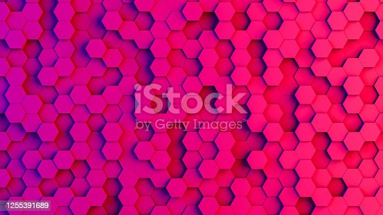 1003112132 istock photo Abstract 3D Hexagon Blocks Background with Neon Lights 1255391689