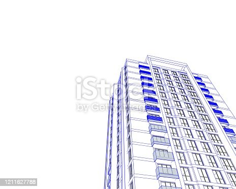 821915804 istock photo Abstract 3d illustration of a residence building facade. 1211627788