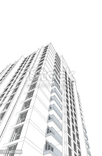 821915804 istock photo Abstract 3d illustration of a residence building facade. 1211627869
