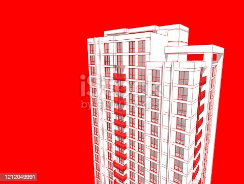 821915804 istock photo Abstract 3d illustration of a residence building facade. 1212049991