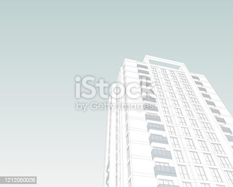 821915804 istock photo Abstract 3d illustration of a residence building facade. 1212050026