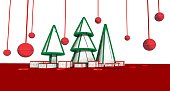 Spherical ornaments hanging around. New year scene on red ground and white background.