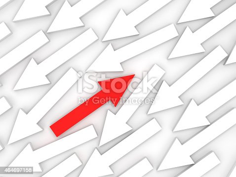 1023882582istockphoto Abstract 3d illustration, one red arrow is opposite 464697158