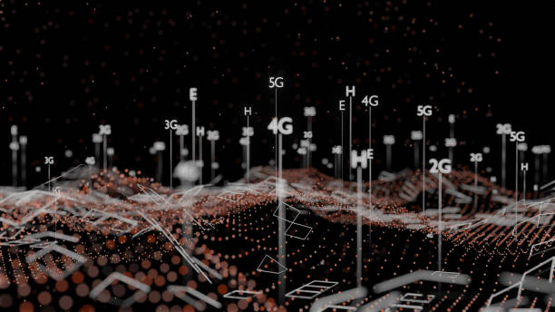 abstract 3d illustration represent 5g, 4g, 3g, 2g mobile technology - 4g foto e immagini stock