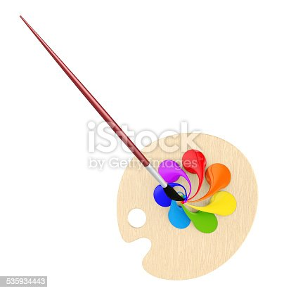 493201681 istock photo Abstract 3d illustration with palette and brush 535934443