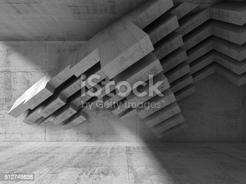 516688156istockphoto Abstract 3d interior design. Concrete installation 512749838