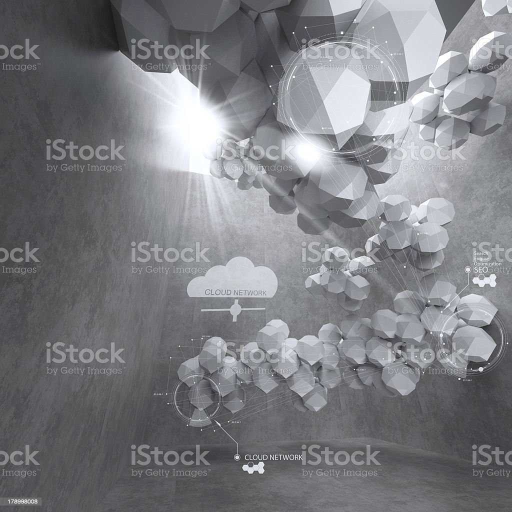 abstract 3d low polygon design for cloud networking computer royalty-free stock photo