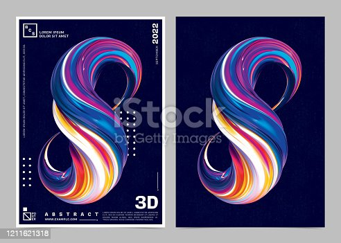 1197513976istockphoto Abstract 3D Paint Brush Shape Color Background Poster Template. 1211621318