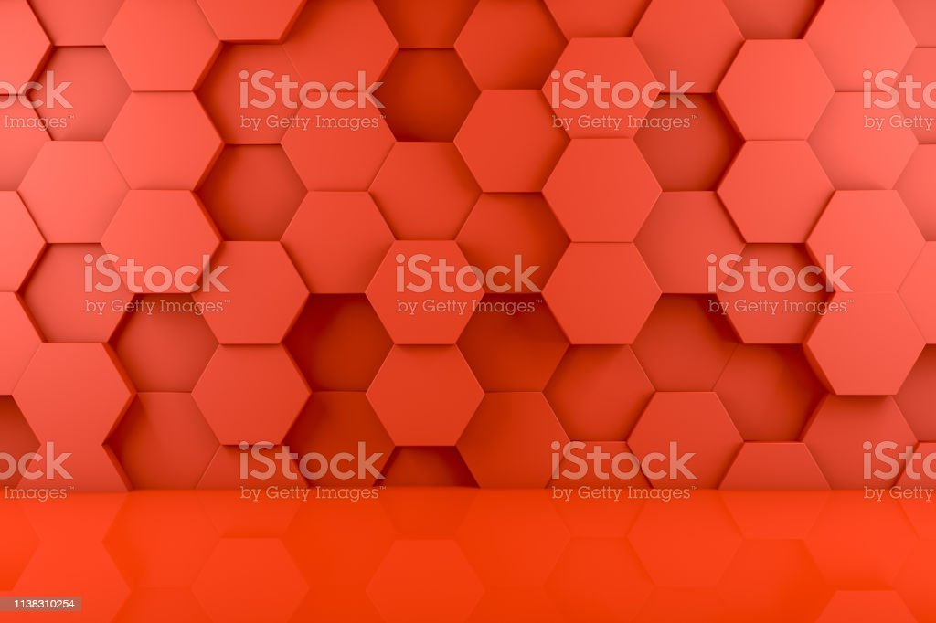 Abstract 3d Red Hexagon Wall Background Stockfoto und mehr Bilder ...