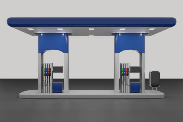 Abstract 3d Render of gas station isolated on white background