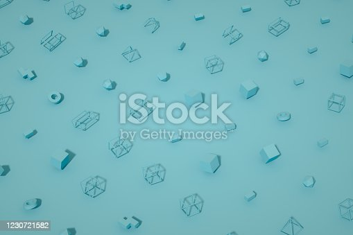 1201586689 istock photo Abstract 3D Render Primitives Geometric Shapes Background 1230721582