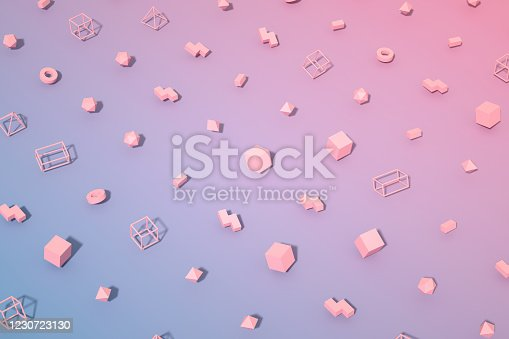 1201586689 istock photo Abstract 3D Render Primitives Geometric Shapes Background 1230723130
