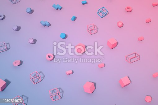 1201586689 istock photo Abstract 3D Render Primitives Geometric Shapes Background 1230724673