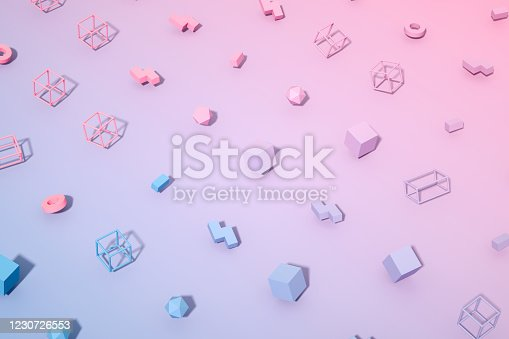 1201586689 istock photo Abstract 3D Render Primitives Geometric Shapes Background 1230726553