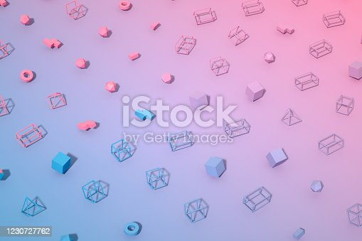 1201586689 istock photo Abstract 3D Render Primitives Geometric Shapes Background 1230727762