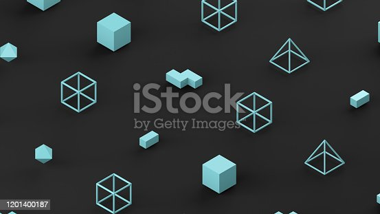 1201586689 istock photo Abstract 3D Render Primitives Geometric Shapes Black Background 1201400187