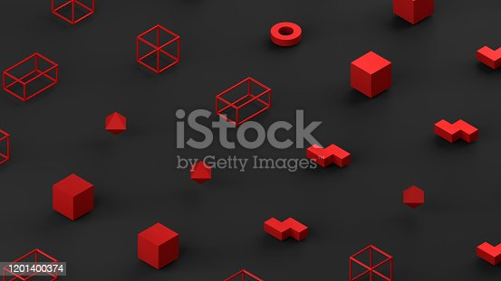 1201586689 istock photo Abstract 3D Render Primitives Geometric Shapes Black Background 1201400374
