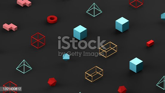 1201586689 istock photo Abstract 3D Render Primitives Geometric Shapes Black Background 1201400812
