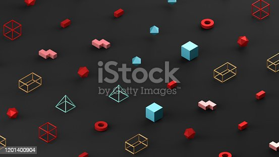 1201586689 istock photo Abstract 3D Render Primitives Geometric Shapes Black Background 1201400904