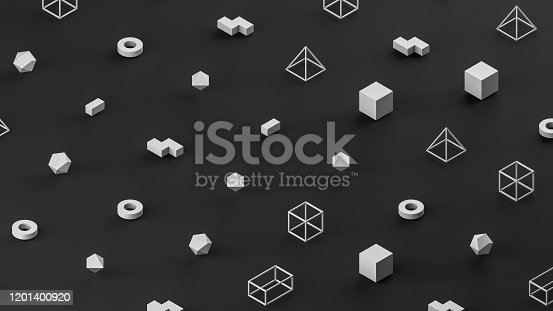 1201586689 istock photo Abstract 3D Render Primitives Geometric Shapes Black Background 1201400920