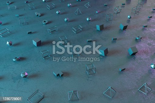 1201586689 istock photo Abstract 3D Render Primitives Geometric Shapes Black Background 1230729301
