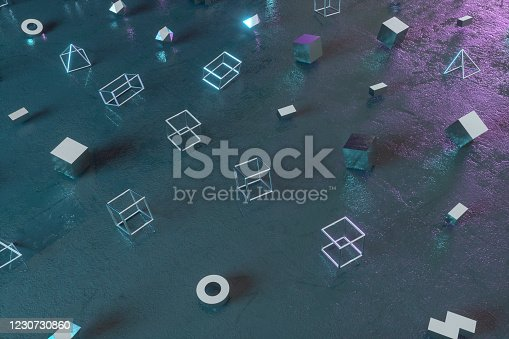 1201586689 istock photo Abstract 3D Render Primitives Geometric Shapes Black Background 1230730860