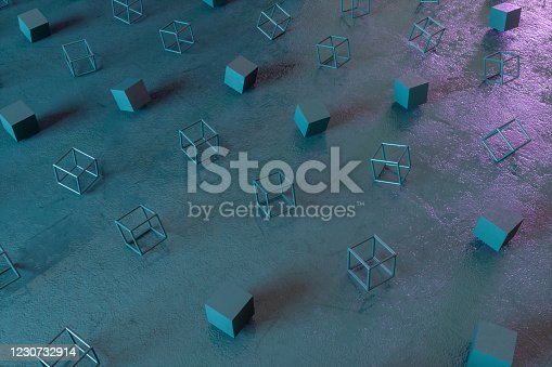 1201586689 istock photo Abstract 3D Render Primitives Geometric Shapes Black Background 1230732914