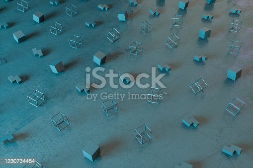 1201586689 istock photo Abstract 3D Render Primitives Geometric Shapes Black Background 1230734454