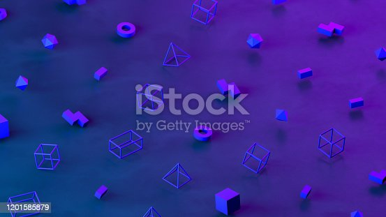 1201586689 istock photo Abstract 3D Render Primitives Geometric Shapes Isometric Background 1201585879