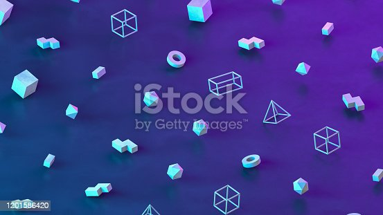 1201586689 istock photo Abstract 3D Render Primitives Geometric Shapes Isometric Background 1201586420