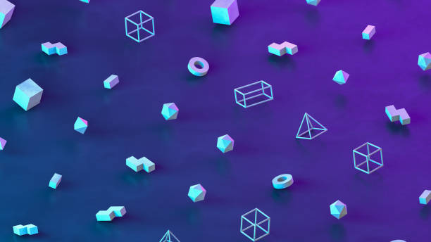 Abstract 3D Render Primitives Geometric Shapes Isometric Background - foto stock