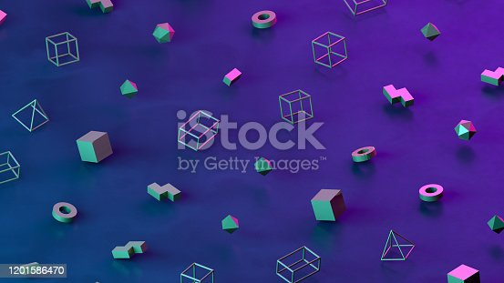 1201586689 istock photo Abstract 3D Render Primitives Geometric Shapes Isometric Background 1201586470