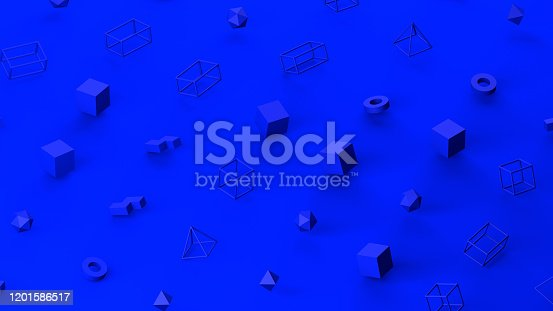 1201586689 istock photo Abstract 3D Render Primitives Geometric Shapes Isometric Background 1201586517