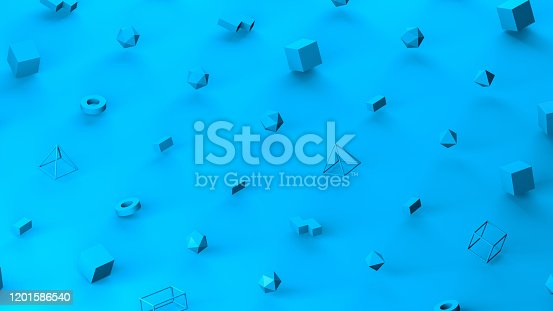 1201586689 istock photo Abstract 3D Render Primitives Geometric Shapes Isometric Background 1201586540