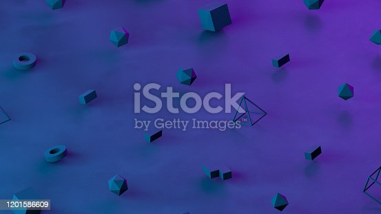 1201586689 istock photo Abstract 3D Render Primitives Geometric Shapes Isometric Background 1201586609