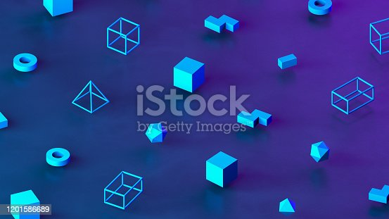 3d rendering of primitives, geometric shapes. Abstract isometric background. Tubes, cones, circles, spheres.