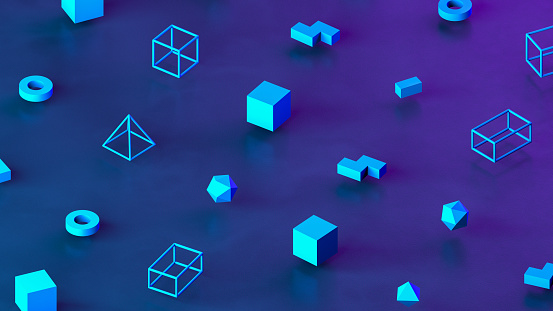 istock Abstract 3D Render Primitives Geometric Shapes Isometric Background 1201586689