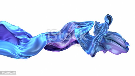 istock Abstract 3d rendering flowing blue cloth background 542192246