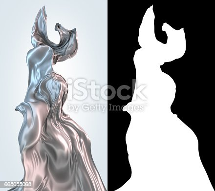 istock Abstract 3d rendering flowing silver cloth background 665055068